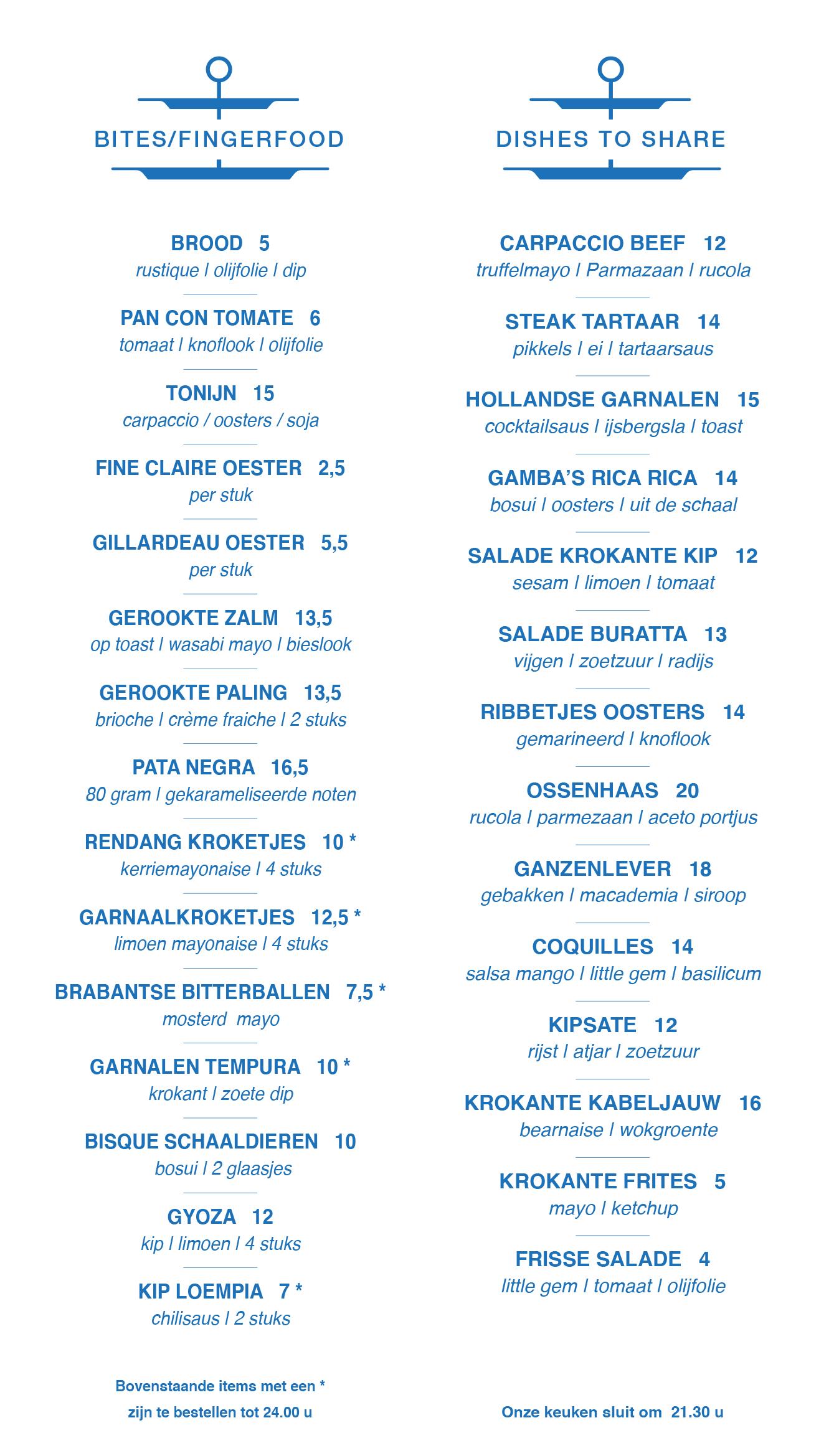 menukaart bites en fingerfood